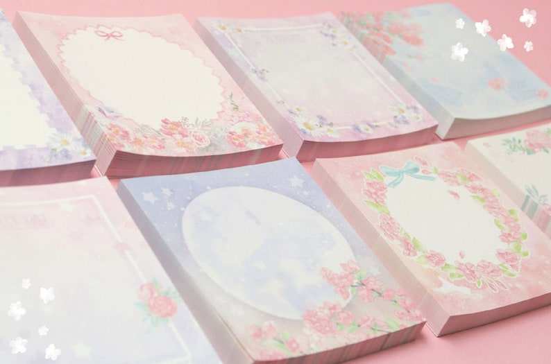 Flowery Pastel Notepad  Floral Writing Paper  Korean Stationery  Scrapbooking  Bullet Journal 8types Flower Garden Memo Pad V.1