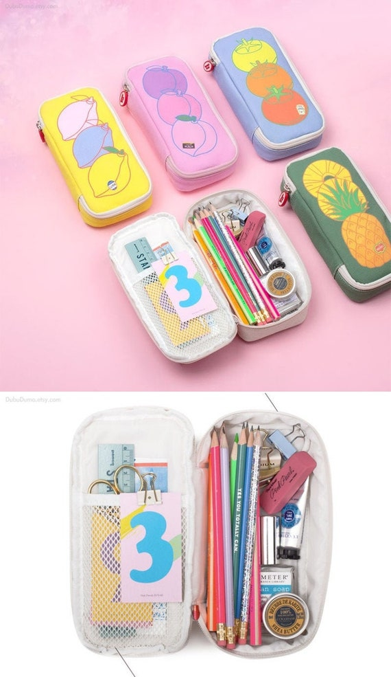 Fruits Cotton Pencil Case L [5types] Pen case Pencil Pouch Pen Pouch Zipper Pouch Zipper Bag Makeup Pouch, Bag School Supplies