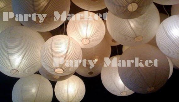 24 paper lanterns led set mixed size white color round lamp etsy image 0 aloadofball Gallery