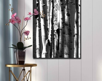 Black and white aspen photograph large canvas print Colorado mountain home decor modern tall wall art hanging living room forest tree print