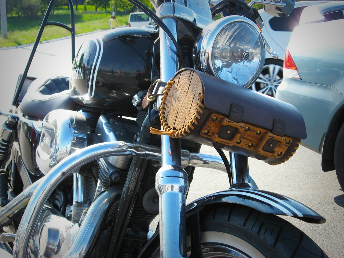 Motorcycle Tool Bag >> Hand Sewn Motorcycle Wood Leather Fork Bag Distressed Wood Etsy