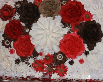 Backdrop 4X6 - Giant Paper Flower Backdrop - Brown, Red, and White Combination