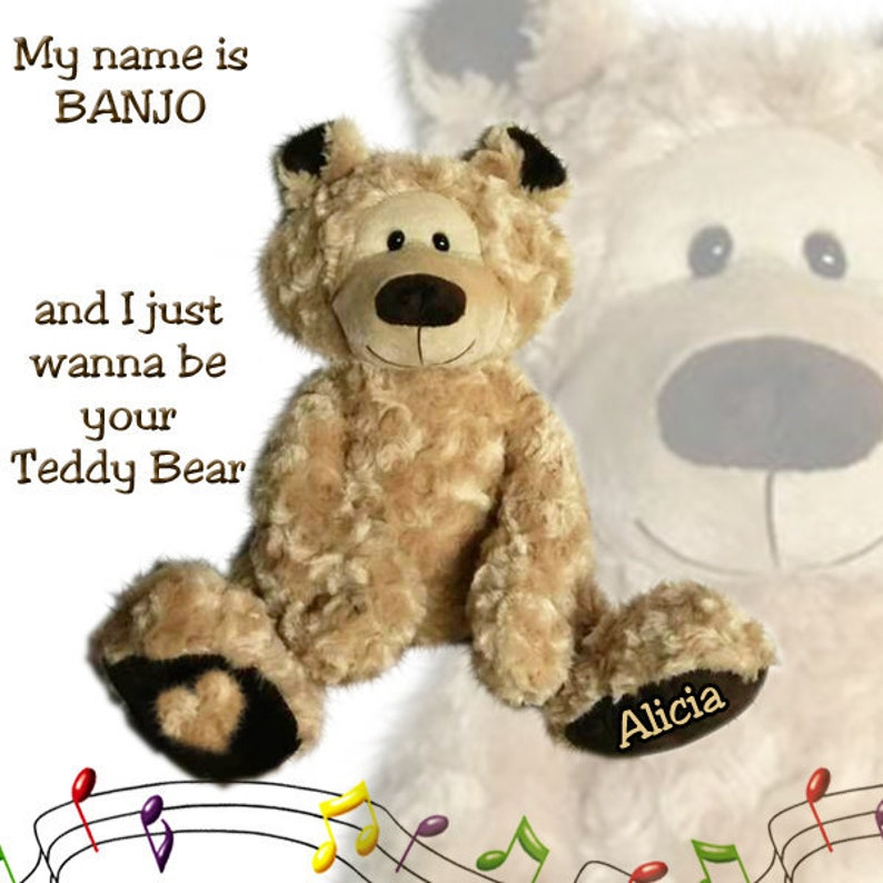Personalised Singing Teddy Bear that sings YOUR CHILDS NAME with Embossed Paw