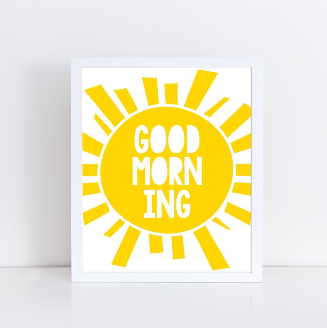Good morning print / Sun print / Nursery art / Kids decor / | Etsy