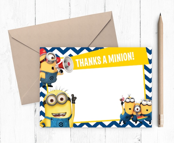 The Minions Thank You Card Minions Birthday Party Etsy