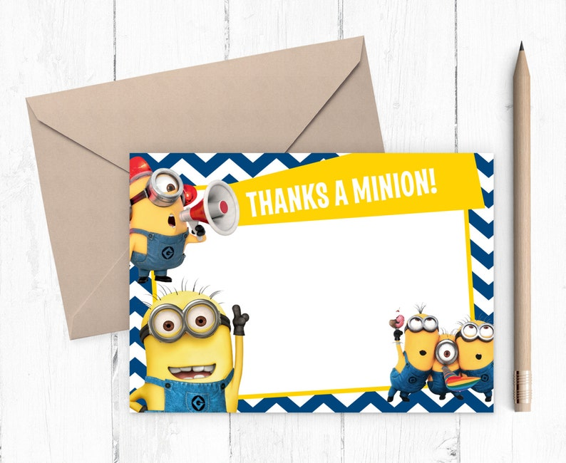 The Minions Thank You Card Birthday Party Despicable Me Boys Invitation Printable
