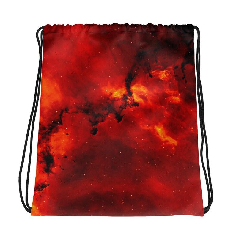 Back to School Space Galaxy On Fire Outer Space Fire Galaxy Drawstring bag Music Fest Dark Nebula Drawstring Bag Festival Wear