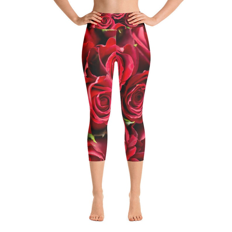 46486dfe5bec9d Red Roses High-Waist Capri Yoga Pant Leggings Women's | Etsy