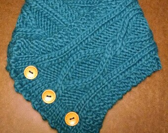 Knitted Twists & Turns Button Scarf in Teal