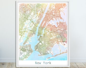 new york city urban map poster new york street map wall decor watercolor new