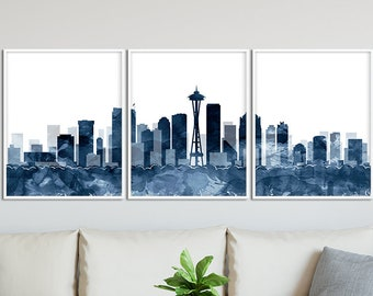 Seattle Skyline Print Set Of 3 Triptych Watercolor Navy Blue Modern Wall Art Home Decor Travel Poster Printable