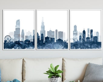 Chicago Print, Chicago Skyline Watercolor Navy Blue Set Of 3, Triptych  Cityscape Chicago Illinois, Modern Wall Art, Home Decor Printable Art