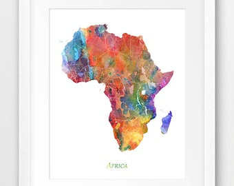 Africa map print | Etsy