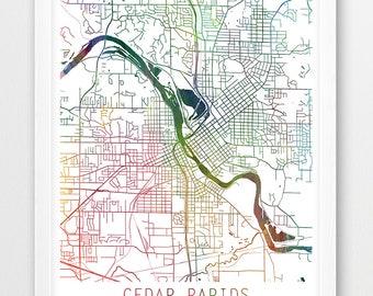Hiawatha Iowa Map.Cedar Rapids Map Etsy