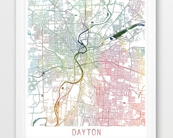 Ohio map art etsy dayton urban map poster dayton street print dayton watercolor map modern wall art home office decor ohio travel digital printable art malvernweather Gallery