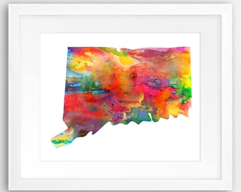 Connecticut State Map Print, Watercolor Connecticut Map Silhouette, Modern Wall Art, USA State Poster, Home Office Decor, Digital Printable