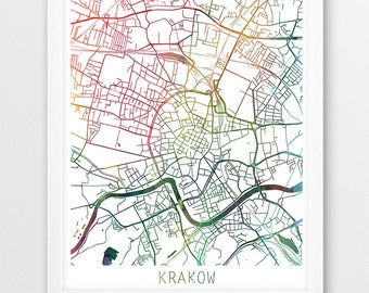 picture regarding Printable Map of Poland named Krakow map print Etsy