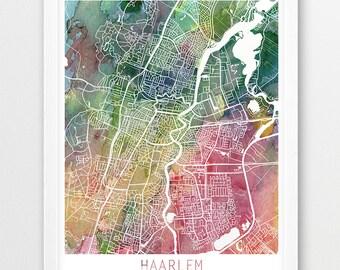 Haarlem map art | Etsy