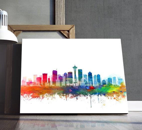 Seattle Washington Cityscape Watercolor Art Print Wedding Gift Seattle Skyline