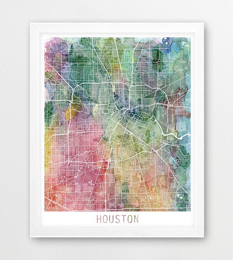 graphic about Printable Map of Houston called Houston Town City Map Poster, Houston Highway Print, Watercolor Map Houston, Progressive Wall Artwork, Residence Business office Decor, Push Poster Printable Artwork