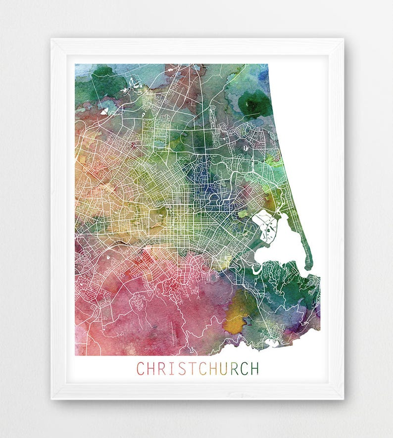 Christchurch City Urban Map Poster, Christchurch Street Print, Watercolor  Christchurch N Zealand, Modern Wall Art, Home Decor, Printable Art