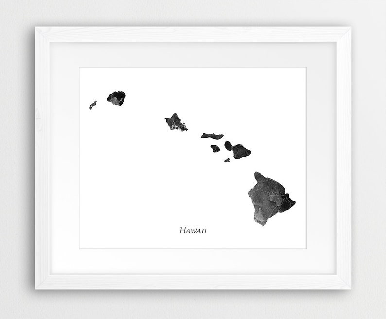 Hawaii State Map Print Hawaii Silhouette Black White Etsy