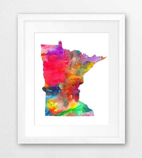 Minnesota State Map Print Watercolor Minnesota Map | Etsy