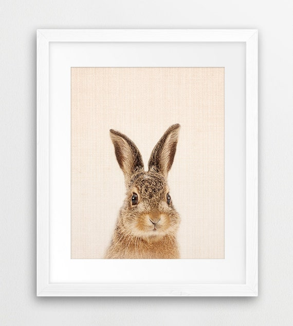 Rabbit Print Woodland Nursery Art Cute Bunny Wall Decor | Etsy