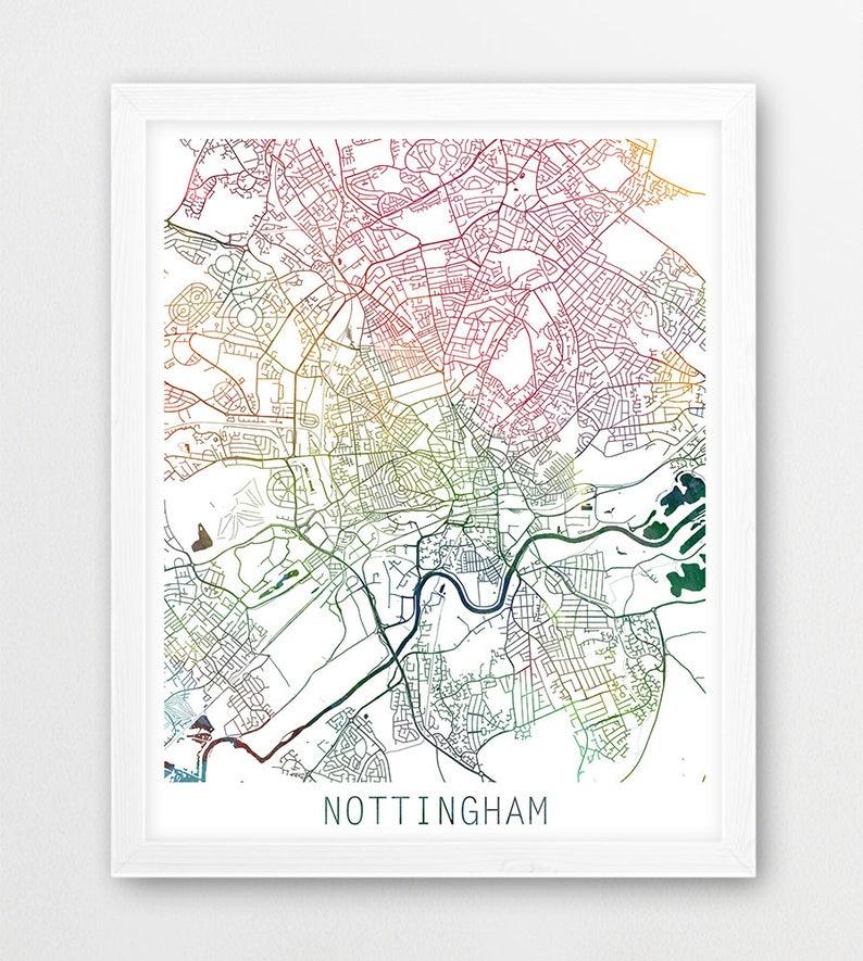 Map Of Uk Nottingham.Nottingham City Urban Map Poster Nottingham Street Print Etsy