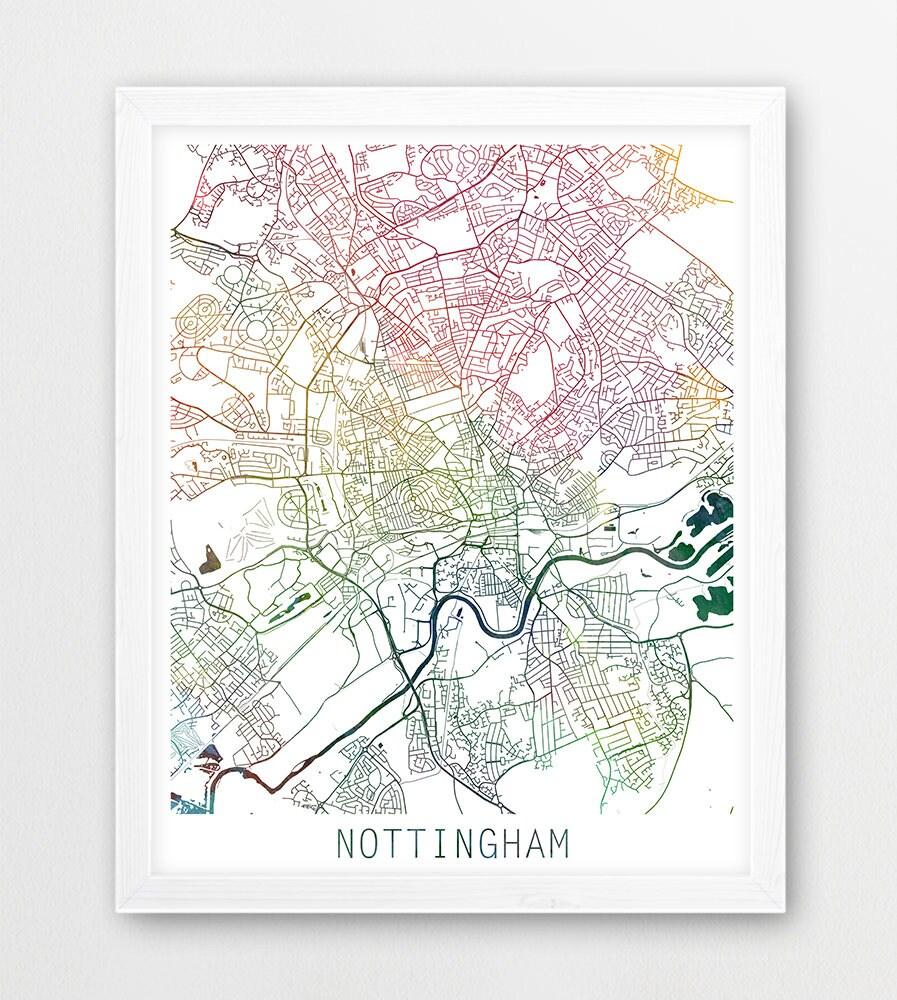 Nottingham City Urban Map Poster Nottingham Street Print Etsy