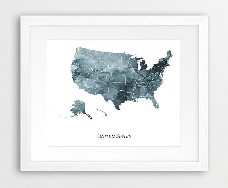 United States Map Decor.United States Map Print Usa Map Decor United States Wall Etsy