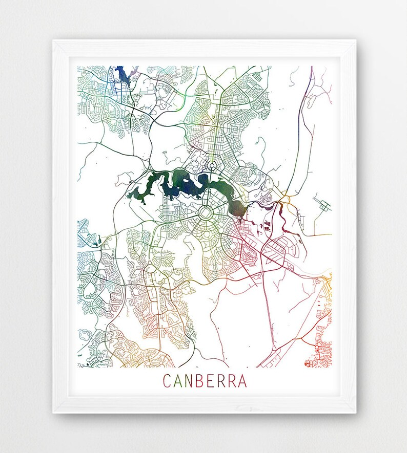 Map Canberra Australia.Canberra City Urban Map Poster Canberra Street Print Watercolor Map Canberra Australia Modern Wall Art Home Decor Travel Printable Art