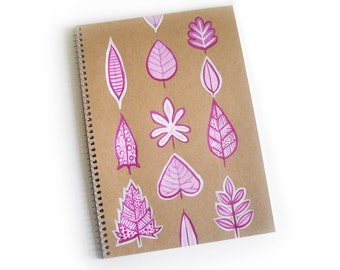 Ring notebook with hand-painted magenta leaves  ( 7 x 10 inches) contains 30 sheets of lined paper.