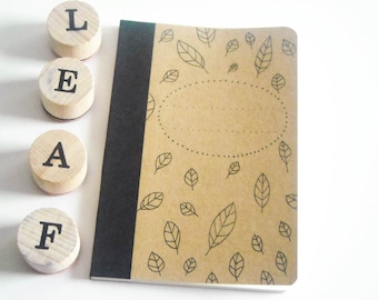 Leaves small notebook for notes hand decorated in bamboo paper black ink (3,34 x 5,04 inch) woodland style