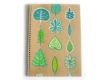 Green leaves  notebook lined paper ( 7x10 inches)hand painted
