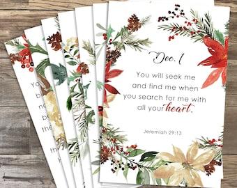 25 Advent Scripture Cards - 4x6 Printable - Watercolor, Floral - DIGITAL DOWNLOAD