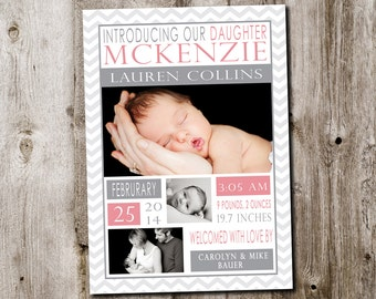 Custom chevron baby girl birth announcement card - printable digital file