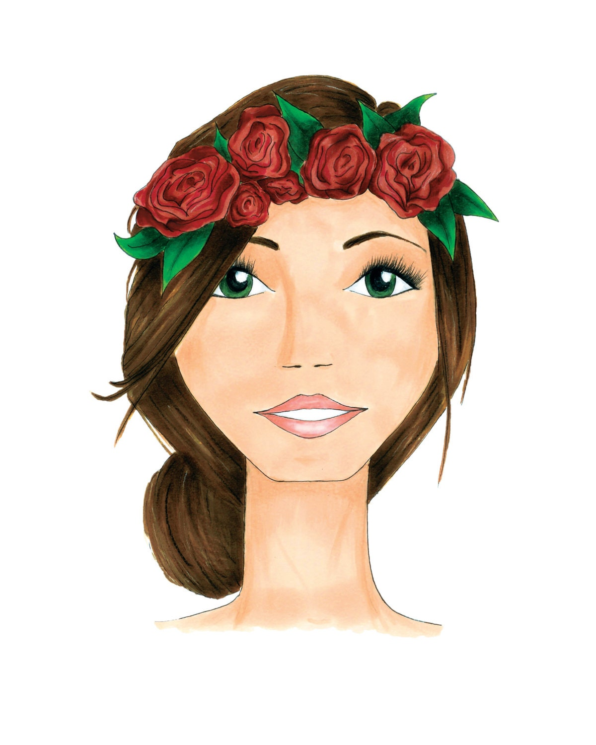 Flower crown fashion illustration print etsy zoom izmirmasajfo
