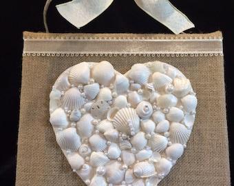 Seashell Heart on Burlap Canvas