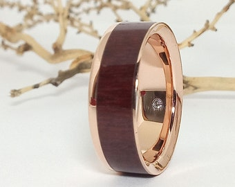Wedding and engagement ring in rose gold and amaranth - Engagement diamond ring