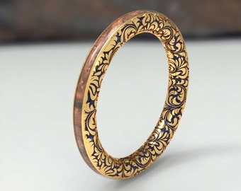 Original Yellow wrought gold ring with walnut wood. Gold engagement rings