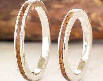 Set silver rings and australian blackwood - Wooden wedding rings