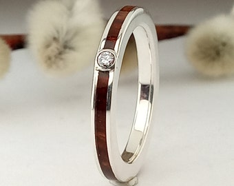 Silver Ring and Briar root Wood  - Engagement band - Diamond ring - Custome ring