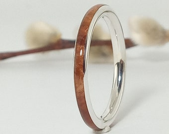 Original silver ring and birch wood / New jewelry / Wedding and anniversary ring