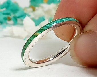 Original silver ring and birch green wood / New jewelry / Green wedding ring