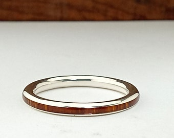 Original silver ring and cocobolo wood / Original wedding ring / Stackable Silver Ring