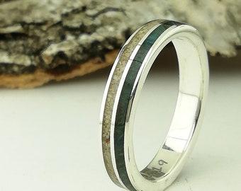 26a5eb5a971 Anillo plata, madera verde y arena - Alianzas personalizadas para boda o  aniversario - Alianzas originales