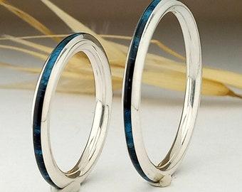 52646e0e0e67 Pareja de anillos de plata con madera de abedul azul - Anillo azul - Boda  azul