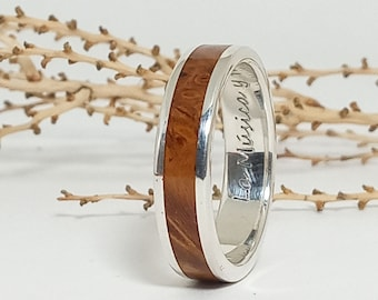 Wooden Silver Weding Rings - Ideas original wedding ring with Russian olive wood