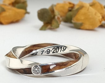 Moebius Ring Silver with olive Wood and Diamond - Engagement rings - Infinity ring jewelry - Original rings